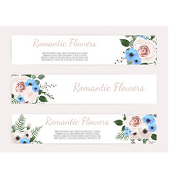 set vintage labels with flowers frame vector image