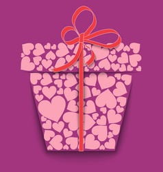silhouette of a paper gift box made of pink hearts vector image