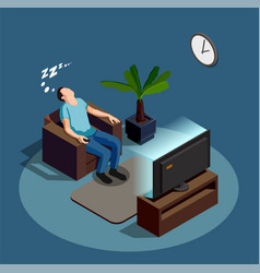 Sleep during watching tv composition vector