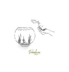 Small goldfish jumping in fishbowl hand let fish vector