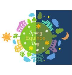 spring equinox half day half night vector image