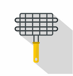 Steel grid for grill icon flat style vector