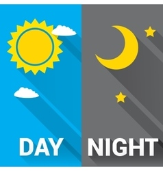 Sun and moon in sky day and night vector image