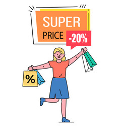 Super price 20 percent off lowering cost vector
