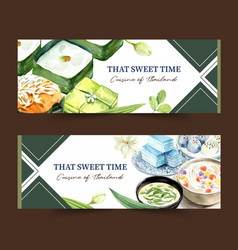 Thai sweet banner design with pudding layered vector