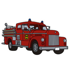 The old red fire truck vector