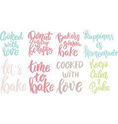 Time to bake donut worry be happy cooked with love vector