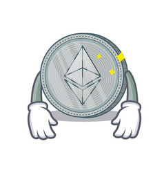 Tired ethereum coin character cartoon vector