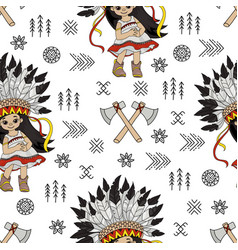 tomahawk girl pocahontas indian princess seamless vector image