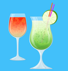 Two fruit cocktails in transparent glasses vector