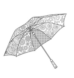 umbrella in entangle inspired doodle style vector image