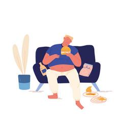 unhealthy eating bad habit concept fat man vector image