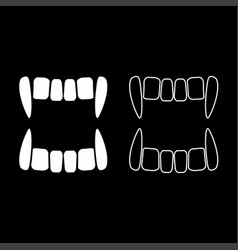 Vampires teeths icon set white color flat style vector
