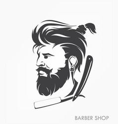 Vintage barber shop emblem label badge with beard vector