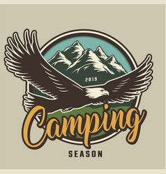 vintage camping colorful logotype vector image