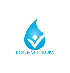 water drop with human icon logo design vector image