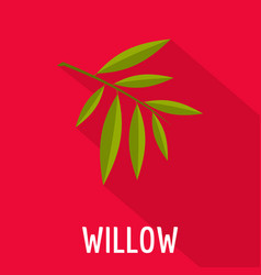 Willow leaf icon flat style vector