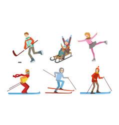 winter sport activities set different people vector image