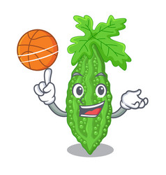 With basketball bitter melon isolated on a mascot vector