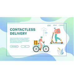 woman and man couriers with packages on bicycle vector image
