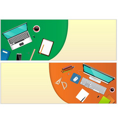 workplace office with a laptop and office equipmen vector image