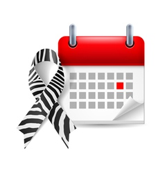 Zebraprint awareness ribbon and calendar vector