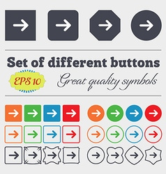 Arrow right Next icon sign Big set of colorful vector image vector image