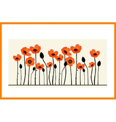 Background painting with red poppies vector image