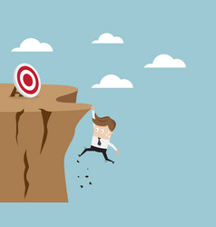 businessman hold on the cliff for target vector image vector image