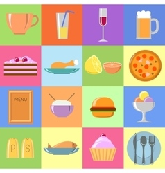 Flat food icons Set vector image vector image