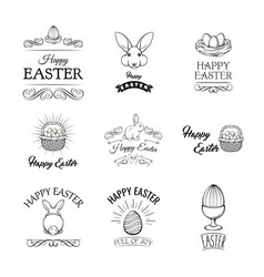 happy easter set elements for greeting card vector image vector image