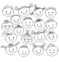 kids heads expand vector image vector image