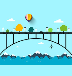 landscape with bridge flat design vector image