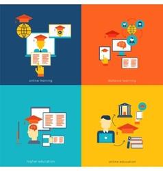 Online education flat vector