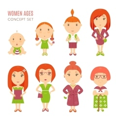 Set of cute pretty women age flat icons vector image