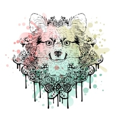 Black and white animal Dog head abstract art vector image