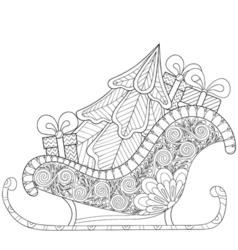 Christmas sledges of Santa with Christmas tree vector image vector image
