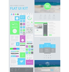 flat UI kit for web and mobile vector image vector image