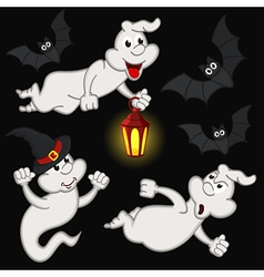 halloween with ghost and bats vector image vector image