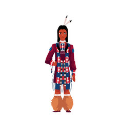 Native american indian man in traditional national vector