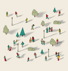 people walk in city park isolate vector image