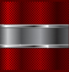 red metal background with perforation vector image