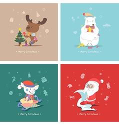 Set of flat Christmas characters vector image
