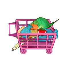 trolley vegetable vector image