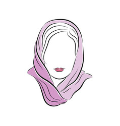 Beautiful young woman in a lilac scarf on her head vector