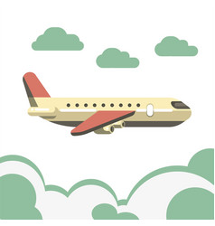passenger airplane isolated over azure clouds on vector image