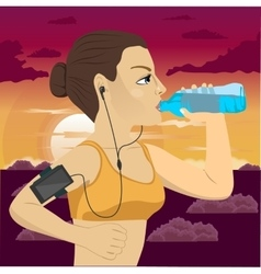 runner woman with smartphone armband vector image