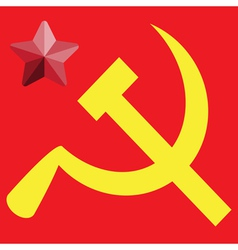Russian or Communist flags hammer and sickle vector image