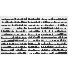 Set city silhouettes vector image