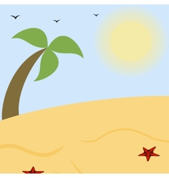 Summer landscape a sunny beach with palm vector image